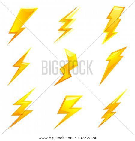powerful lightning bolts. vector set