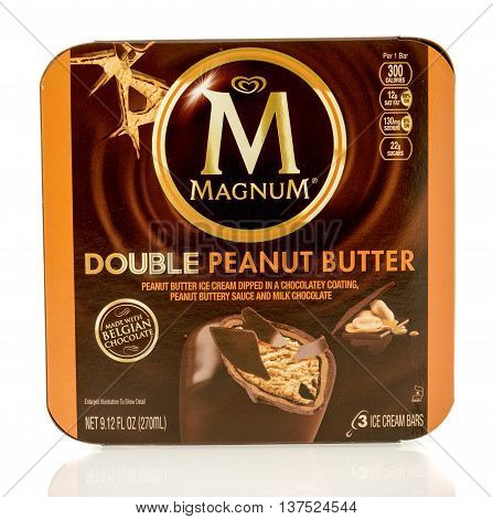 Winneconne WI - 1 July 2016: Box of Magnum double peanut butter bars on an isolated background