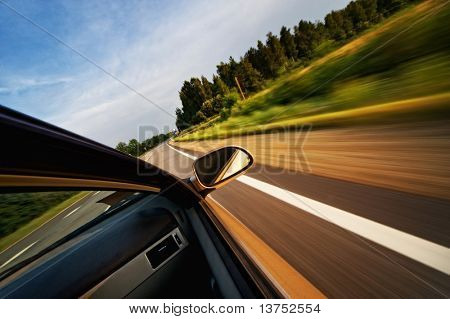 Fast moving car