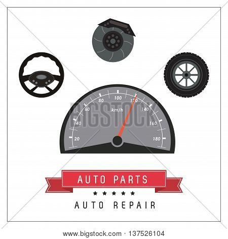 Auto parts and transportation concept represented by mileage icon. Flat and frame illustration