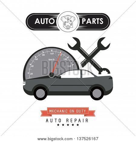 Auto parts and transportation concept represented by mileage and wrench icon. Flat illustration