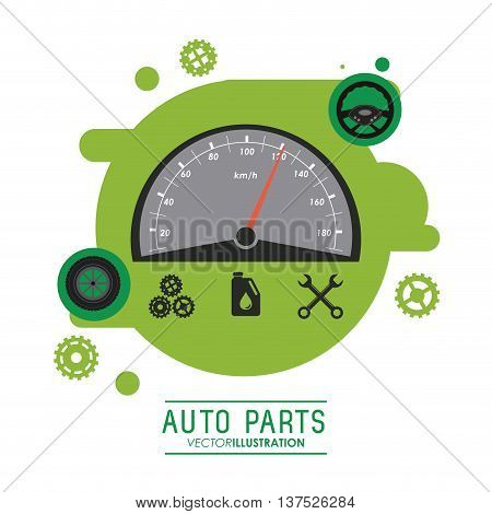 Auto parts and transportation concept represented by Mileage icon over splash shape. Flat illustration