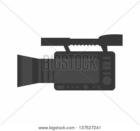 Broadcasting concept represented by videocamera icon. isolated and flat illustration poster