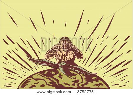 Illustration of Samoan legend god Tagaloa releasing his plover bird daughter to come down to the earth island to populate them done in retro woodcut style poster