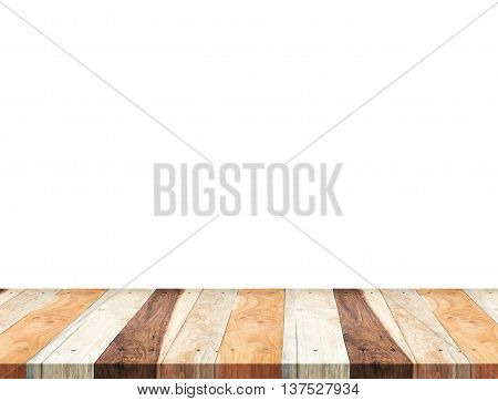 Empty Tropical Wooden Table Top Isolate On White Background, Leave Space For Placement You Backgroun