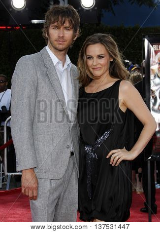 Christopher Jarecki and Alicia Silverstone at the Los Angeles premiere of 'Tropic Thunder' held at the Mann Village Theater in Westwood, USA on August 11, 2008.