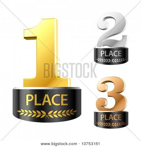 First, second and third places. Vector.