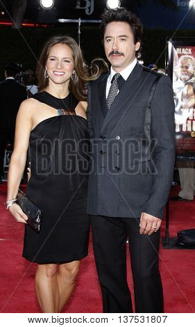 Susan Downey and Robert Downey Jr. at the Los Angeles premiere of 'Tropic Thunder' held at the Mann Village Theater in Westwood, USA on August 11, 2008.