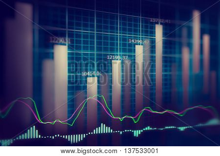Financial stock market data. Candle stick graph chart of stock market ,stock market data graph chart on LED display concept.