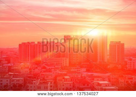 residential building in nightfall against the sun