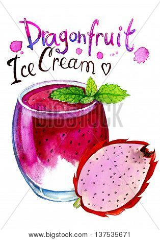 Watercolor painting of Glass with dragonfruit ice cream. Vitamins sweet food dessert isolated on white background.