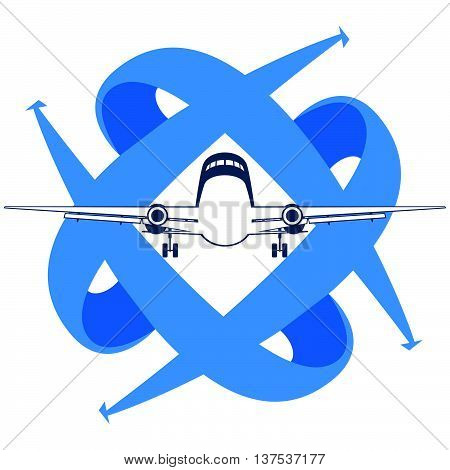 Modern passenger plane on a background of arrows showing the direction. Illustration on white background.