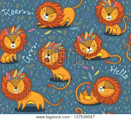 Lions seamless vector background. Cartoon lions, king of the jungle. Perfect for cards, invitations, party, banners, kindergarten, preschool and children room decoration