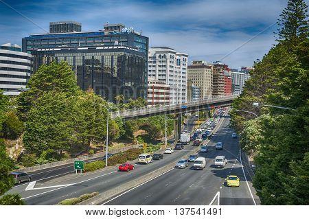 Wellington, New Zealand - March 3 2016: View of Wellington Urban Motorway