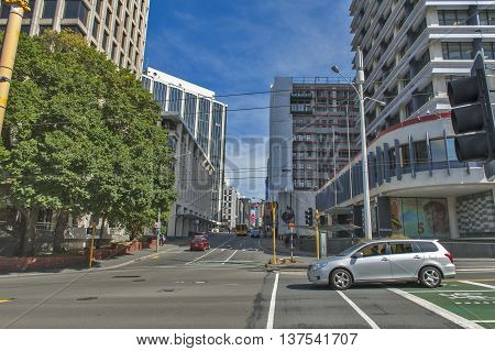 Wellington, New Zealand - March 3 2016: Cityscape of Wellington capital city of New Zealand located on north island