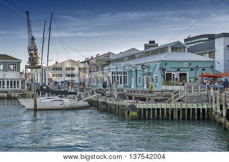 Wellington New Zealand - March 3 2016: Restaurants on Wellington waterfront north island of New Zealand