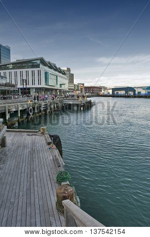 Wellington, New Zealand - March 3 2016: Wellington waterfront ,north island of New Zealand