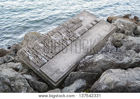 Wellington New Zealand - March 3 2016: Text sculpture along Wellington waterfront north island of New Zealand