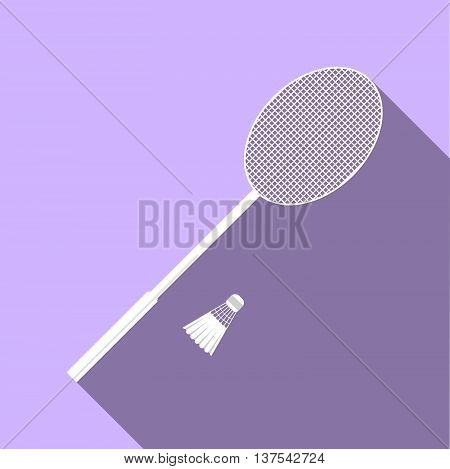 Equipment For Sports. Flat Sports Objects For Badminton. Isolated Tennis Racquet With Shuttlecock. V