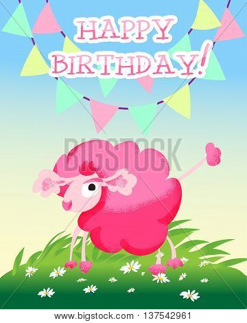 Happy birthday card with sunny meadow pink poodle grass and daisies. Vector illustration.