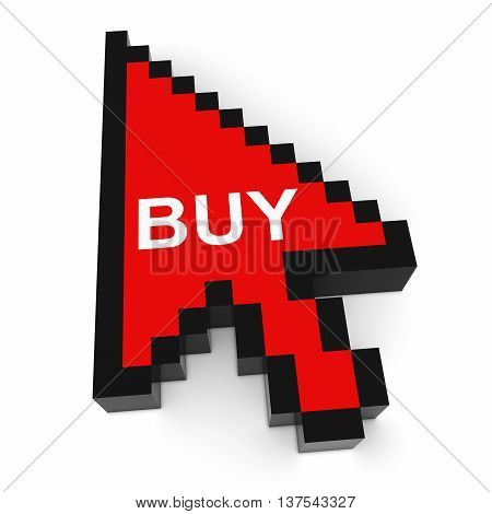 Online Shopping Pixelated Arrow Cursor With Buy Text 3D Illustration