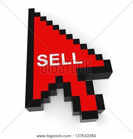 Sell Pixelated Computer Arrow Cursor 3D Illustration