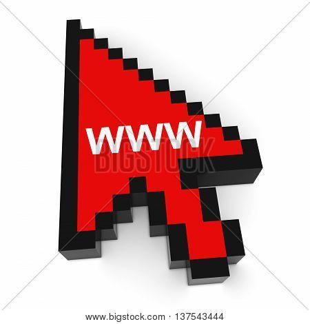 WWW Pixelated Computer Arrow Cursor 3D Illustration