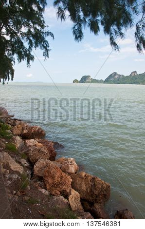Beautiful of sea stones background in Thailand