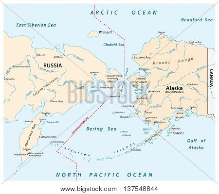 vector map of the Bering Strait between Russia and Alaska