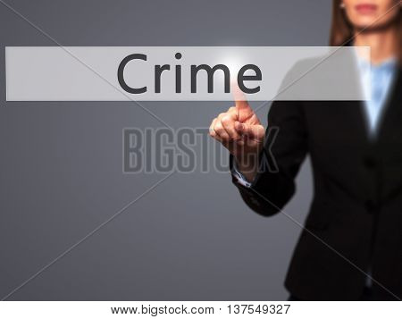 Crime - Successful Businesswoman Making Use Of Innovative Technologies And Finger Pressing Button.
