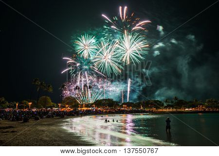 Fireworks light up the sky during Hawaii's largest fireworks display on the Fourth of July at Ala Moana Beach Park in Honolulu on Oahu. poster