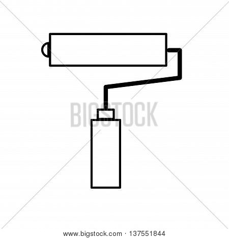 Constuction and repair concept represented by paint roll tool icon. isolated and flat illustration