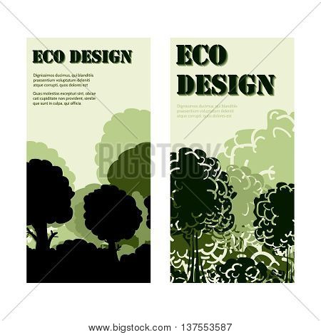 Eco design banners labels collection with forest vector illustration