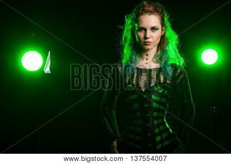 Alternative Fashion Model In Green Corsait