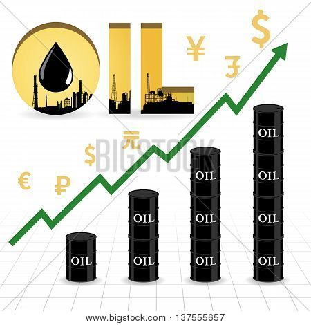 Crude oil price increase abstract illustration with uptrend green arrow oil barrel graph currency symbol and refinery factory in gold color oil wording