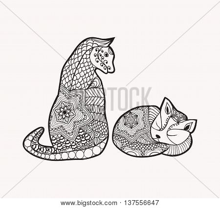 Hand drawn decorated cartoon cat and kitty in boho style Image for adult or children coloring book page tattoo. Illustration. Colouring book page.