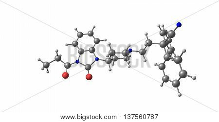 Bezitramide is an opioid analgesic. Bezitramide itself is a prodrug which is readily hydrolyzed in the gastrointestinal tract to its main metabolite despropionyl-bezitramide. 3d illustration