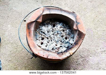 Old clay stove for traditional cooking place on a cement floor.