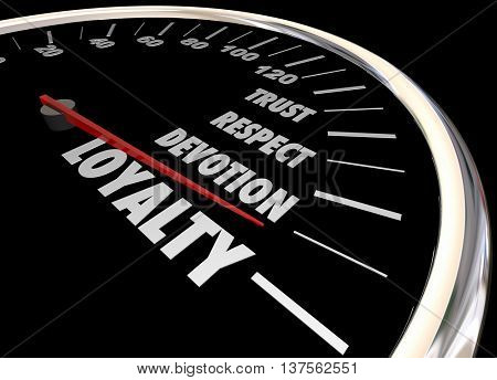 Loyalty Customer Employee Trust Respect Speedometer 3d Illustration poster