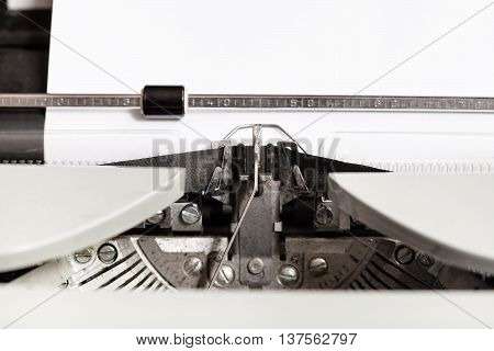 Typebar Hits Ink Ribbon In Mechanical Typewriter