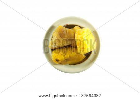 Heap of rancid pineapple chunks on white
