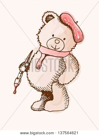 Sketch Bear in a cap and with a brush. Little teddy bear. EPS 10, vector