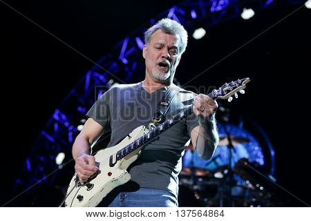 WANTAGH, NY-AUG 14: Eddie Van Halen of Van Halen performs onstage at Jones Beach Theater on August 14, 2015 in Wantagh, New York.