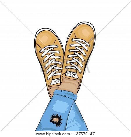 Summer trendy sports shoes. Feet in sports shoes sneakers. Man in torn jeans and sneakers resting. Vector illustration