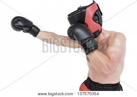 Side view of boxer hitting straight on white background