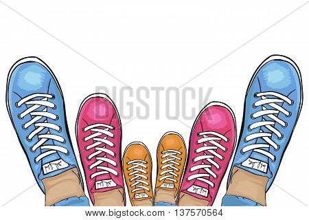 Summer trendy sports shoes. Family-run collection of sneakers. Vector illustration