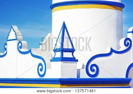 Detail of a typical old whitewashed public fountain.Alentejo Portugal