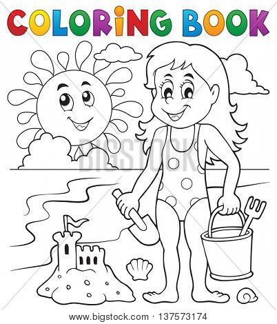 Coloring book girl playing on beach 1 - eps10 vector illustration.