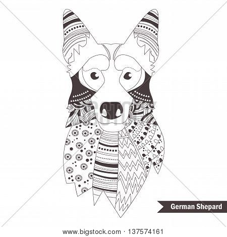 German shepherd. Coloring book for adult, antistress coloring pages. Hand drawn vector isolated illustration on white background. Henna mehendi, tattoo sketch