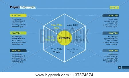 Six parts diagram. Element of brochure, presentation, layout. Concept for business infographics, presentation templates, reports. Can be used for topics like marketing, analysis, management, strategy